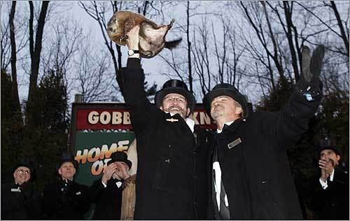 The annual ritual takes place on Gobbler's Knob, a tiny hill in Punxsutawney, a borough of about 6,100 residents some 65 miles northeast of Pittsburgh.