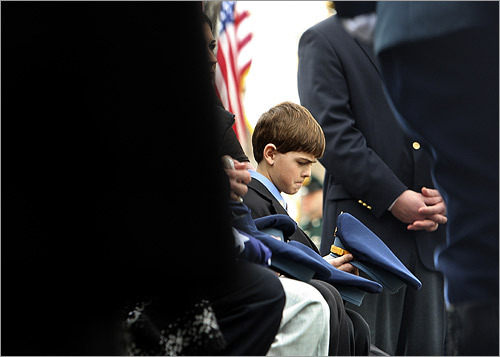 Cashin's youngest son, Matthew, at the funeral.