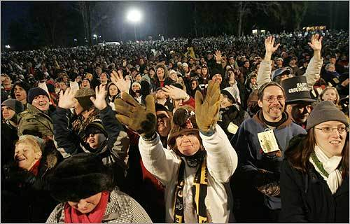 'Punxsy' Phil emerged just after dawn in front of an estimated 13,000 witnesses, many dressed in black-and-gold to celebrate the Pittsburgh Steelers' Super Bowl victory the night before.
