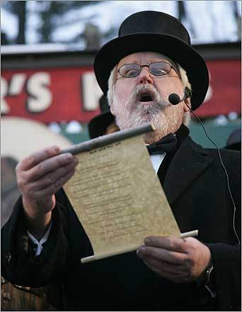 Mike Johnston of the Groundhog Club Inner Circle read Phil's official prognostication.