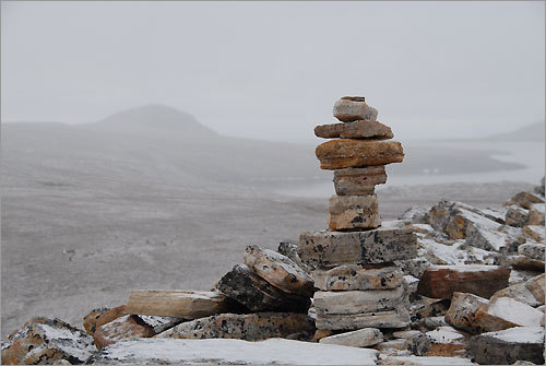 An Inuit stone landmark near Dundas Harbour in Nunavut, one of Canada's most northern (and coldest) inhabited locations.