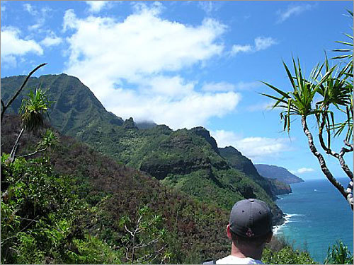 Hiking the Naapali Coast in Kauai. 'We came up a ridge and this was our first view of the whole coastline. It was awe-inspiring. I like to think of it when it's 32 and raining in Boston.'