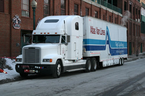Earlier in the day, the 18-wheeler sat outside Fenway Park.
