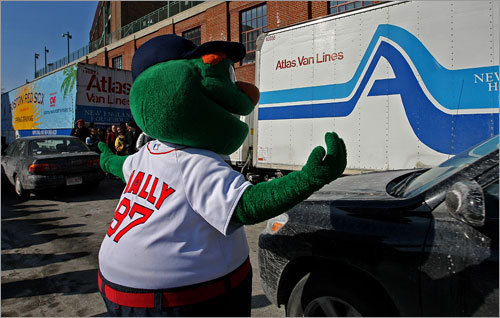 With Truck Day 2010 set for Friday, when the Red Sox' spring training gear is transported from Fenway Park to Fort Myers, we take a look back at last year's big sendoff. Pictured, Wally the Green Monster, Red Sox team mascot, directed traffic as the moving truck prepared to leave. Truck Day '08 Truck Day '07 Truck Day '06
