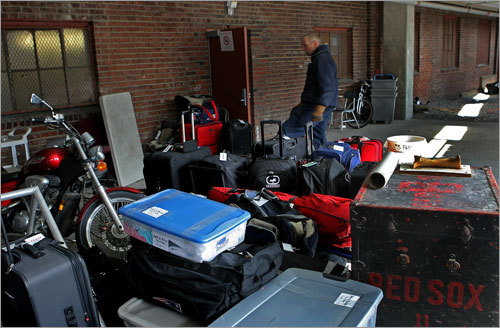 A motorcycle was among the items waiting to be boarded onto the truck bound for Florida.