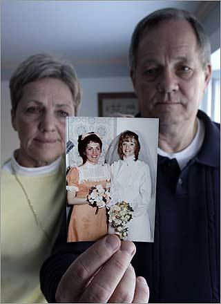 Within five days, seven people died from cyanide poisoning after eating tainted Tylenol pills. One was Mary McFarland of Elmhurst, Ill. Jack Eliason, right, and his wife, Nancy, displayed a 1974 wedding photo of Jack's sister, Mary McFarland, right, at the Eliason's home in Elmhurst.