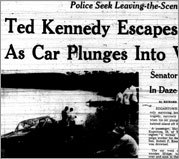 Globe front page: Ted Kennedy Escapes, Woman Dies, As Car Plunges Into Vineyard Pond