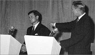 Edward J. McCormack points his finger at Ted Kennedy, charging that if his name were anything but Kennedy, his candidacy for Senate would be a 'joke.'