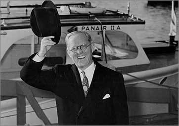 US Ambassador to Britain Joseph P. Kennedy waves en route to Washington, D.C., for a conference with President Roosevelt.