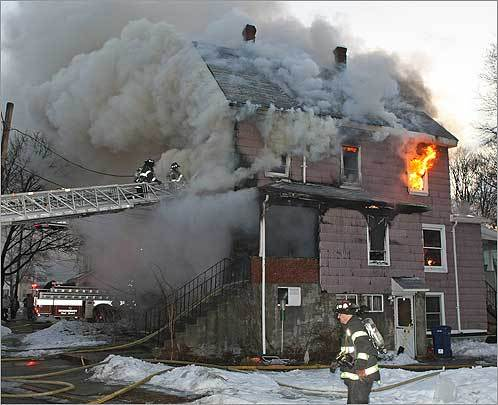 Firefighters battled a blaze at 104 Los Angeles St. in Newton this morning. The blaze erupted at 6:05 a.m. and tore through the 2½-story, wood-frame home. A firefighter was one of several people injured, according to witnesses at the scene. Read the story