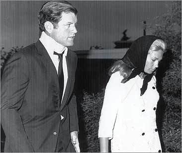 Ted Kennedy and his wife, Joan, leave Hyannis for Mary Jo Kopechne's funeral in Pennsylvania.