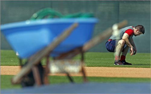 Jason Varitek took some time to rest after doing some conditioning.