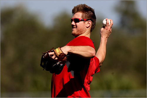 Red Sox pitcher Jonathan Papelbon did some throwing.