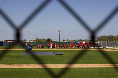 A view from outside the fence as Red Sox players worked out.