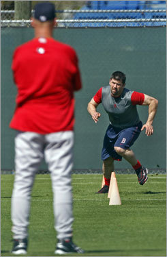 Red Sox manager Terry Francona watched Jason Varitek run drills Friday.