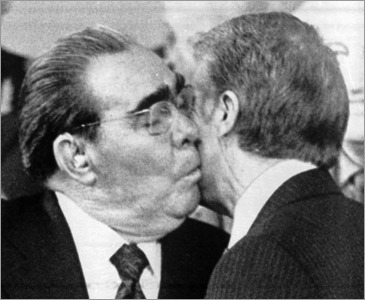 Soviet leader Leonid Brezhnev kisses President Jimmy Carter in 1979, after the two leaders signed the SALT II agreement in Vienna.