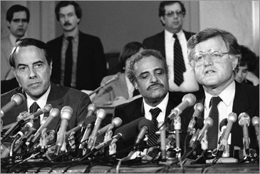 Kennedy appears beside NAACP Director Benjamin Hooks in 1982 to discuss extending portions of the 1965 voting Rights Act.