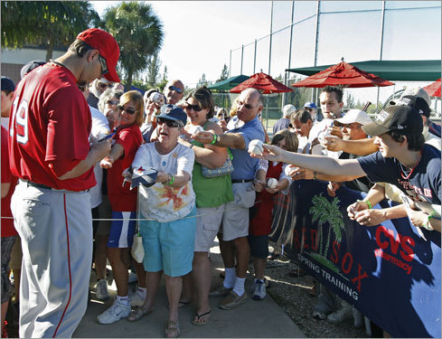 Josh Beckett was badgered with autograph requests.