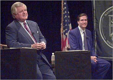 Kennedy, left, and Republican Senate challenger Mitt Romney smile as they wait for the start of their debate at Holyoke Community College in 1994.