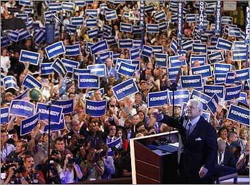 Kennedy acknowledges the crowd at the end of his speech at the Democratic National Convention in Denver in August 2008.