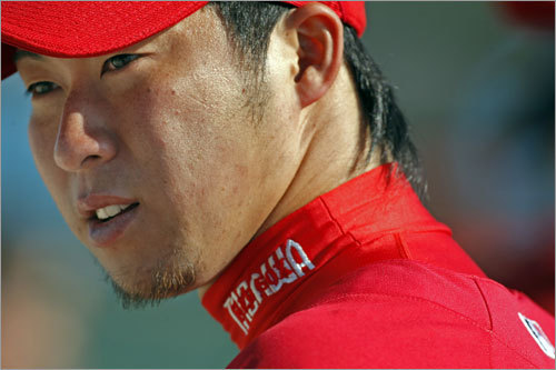 Red Sox pitching prospect Junichi Tazawa is seen at Friday's workout.