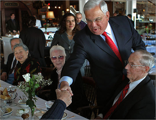 Mayor Thomas M. Menino met with members of Boston's elderly commission at Anthony's Pier 4 in South Boston this week.