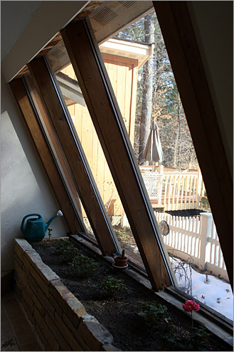 A winter indoor growing area provides lots of sunlight.