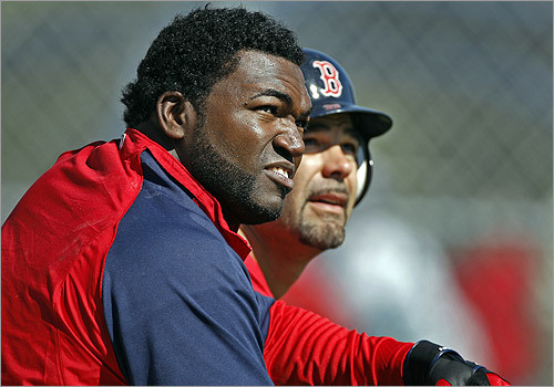 Ortiz (left) and Lowell (right) watched the flight of a ball hit by teammate Lugo (not pictured).
