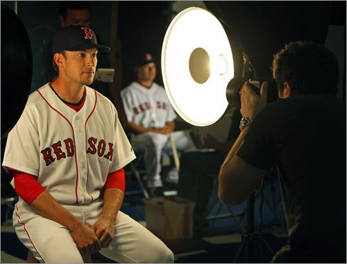 Jed Lowrie, who is battling for the starting shortstop job with Julio Lugo, shared the spotlight with no one while posing for his official team photo.