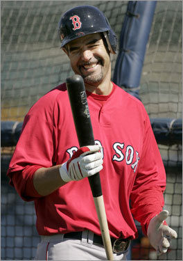 Mike Lowell smiles during team batting practice.