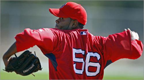 pitcher Ramon Ramirez throws during live batting practice.