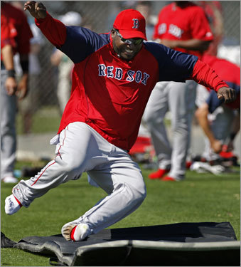Tuesday was the final day of workouts at the Player Development Complex for the Red Sox. As they have in past years, on the last day of camp the players took off their spikes and for the first time practiced sliding on mats in the outfield. David Ortiz is shown as he took a turn on a mat.