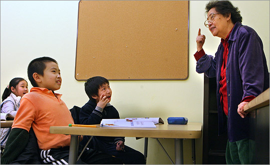 Teacher Catherine Lui taught stsudents Mandarin at the Kwong Kow Chinese School in Chinatown.