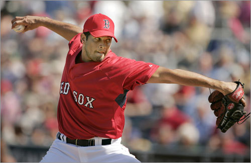 Fernando Cabrera delivers a pitch against the Pittsburgh Pirates in the sixth inning. The Red Sox fell to the Pirates, 3-2.