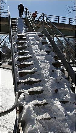 The stairs were snowy, icy, and treacherous as the runners made their way up.