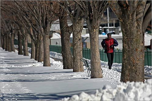 Even though the scenery looked more fit for a sleigh ride than a run along the Charles River, the training might pay off on Marathon Monday.