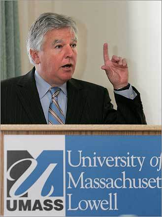 Credit crunch cancels construction The University of Massachusetts at Lowell scuttled plans for a $90 million science center , touted as a research powerhouse for emerging technologies, because the school was unable to secure funding from choked credit markets. 'Unless something changes, we're not going to be able to go forward,' Martin Meehan, the university's chancellor, pictured, said. 'These are tough economic times, and at this point we can't commit to the project.'