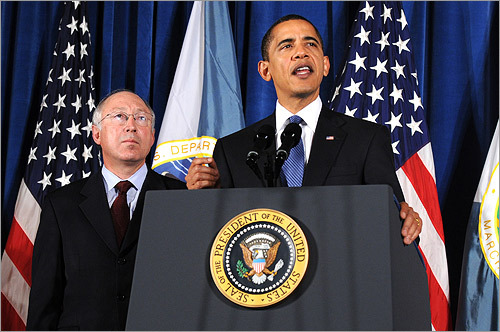 ENDANGERED SPECIES In a March 3 speech, Obama said he would require federal agencies to consult with outside experts on projects that could harm endangered species. The move reinstated a longstanding policy Bush had removed in the waning days of his administration. CNN.COM: Read more At left, Obama and Secretary of Interior Ken Salazar.