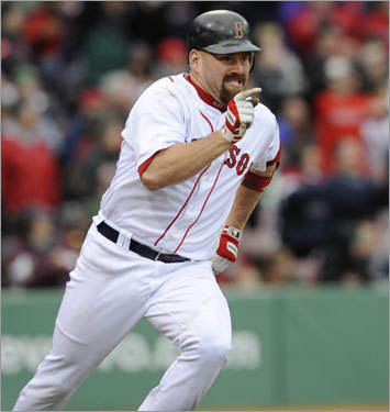 Kevin Youkilis, 1B 2008 statistics: Avg. HRs RBIs Runs SB .312 29 115 91 3 Youkilis broke out with an incredible offensive season, one that led to a third-place finish in MVP voting. And, in a surprising development, Youkilis led the team in 2008 with 29 home runs. He'll be relied on to duplicate his power and average to lead the offense from the middle of the order this season. While he didn't quite tear it up in the WBC (.182 average), three of his four hits were home runs.