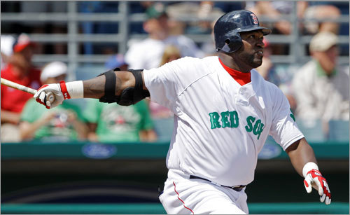 Red Sox designated hitter David Ortiz watched his RBI sacrifice in the second inning.
