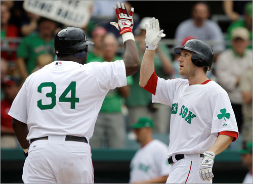 Jason Bay (right) was congratulated by teammate David Ortiz after hitting a two-run home run in the fourth inning.