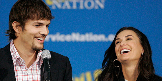 Ashton Kutcher and Demi Moore attended a Martin Luther King, Jr. Day celebration in Washington on Jan. 19, 2009.