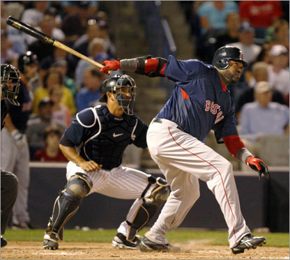 Yankees catcher Jorge Posada (left) watches as Ortiz follows through on a sixth inning RBI single.