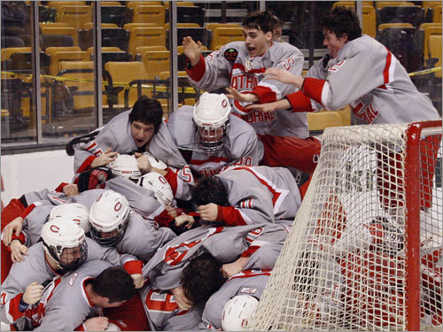 With 12 Super 8 titles heading into the 2008- 09 season, Catholic Memorial was the king of the MIAA's most elite hockey tournament. But something was wrong. The Knights hadn't won the title since 2005, a streak that no one was happy about on Baker Street. But after beating Burlington, 5-1, in the final at the Garden, order is restored. CM is back on top. ''It was a tough year, physically and emotionally,'' said coach Bill Hanson. ''I can't enough about what they accomplished.'' TJ O'Brien will never forget the end to his season. A hat trick at the Garden doesn't happen every day.