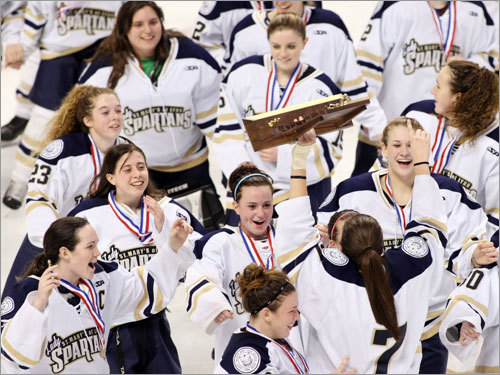 It was only appropriate that the first girls' hockey team to celebrate on Garden ice was the most dominating team in state history, St. Mary's. The Spartans made their 51st straight win their second straight state title as well, beating Woburn, 1-0, before a crowd officials estimated at 2,300. ''It's unbelievable. We're the first to play here and we're the fi rst to win it,'' said senior captain Michelle Golden. ''Now we're part of history.'' And history was made for a second time a week later when Fontbonne won the first ever Division 2 girls' title on the same Garden ice.