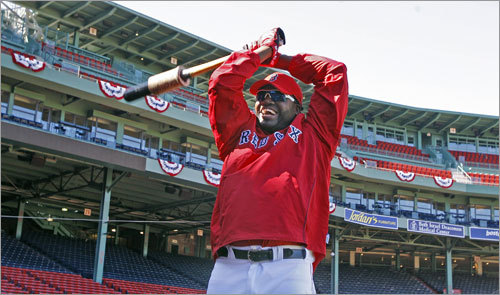 The Red Sox are scheduled to open the 2009 baseball season on Monday afternoon against the Tampa Bay Rays at Fenway Park. The team held a workout Sunday afternoon in preparation. Here, DH David Ortiz loosened up before taking batting practice.