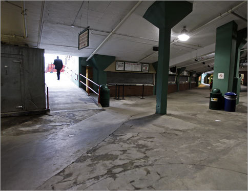 The concourse under the stands behind home plate was devoid of fans this morning while the Sox took batting practice.