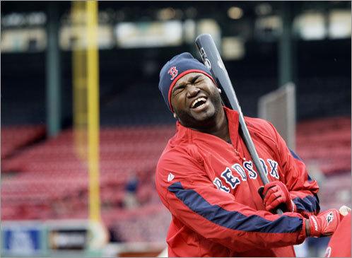David Ortiz has a laugh during batting practice on Monday.