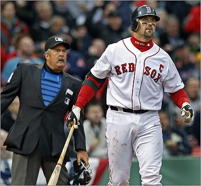 Jason Varitek and home plate umpire Tim Tschida watched as Varitek's drive hooked around Pesky's Pole for a home run.