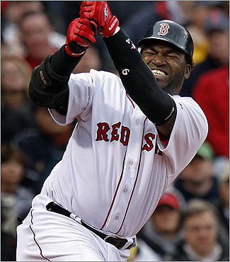 David Ortiz grimaced when he wasn't able to hold back a swing for a strike.